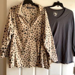 Land's End Animal Pullover & matching shirt 3X